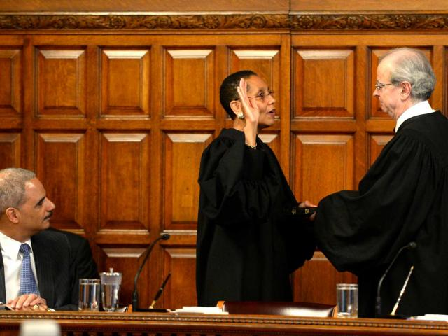 black woman judge being sworn in to join the court of appeals (Shiela Abdus-Salaam)